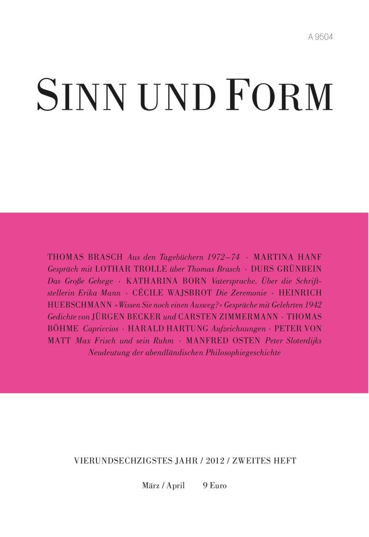 Heftarchiv – Jahrgänge :: Jahrgang 2012 :: SINN UND FORM